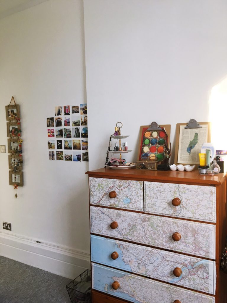 map-covered-dresser-and-jewelerry-storage-yellow-feather-blog-bedroom-tour