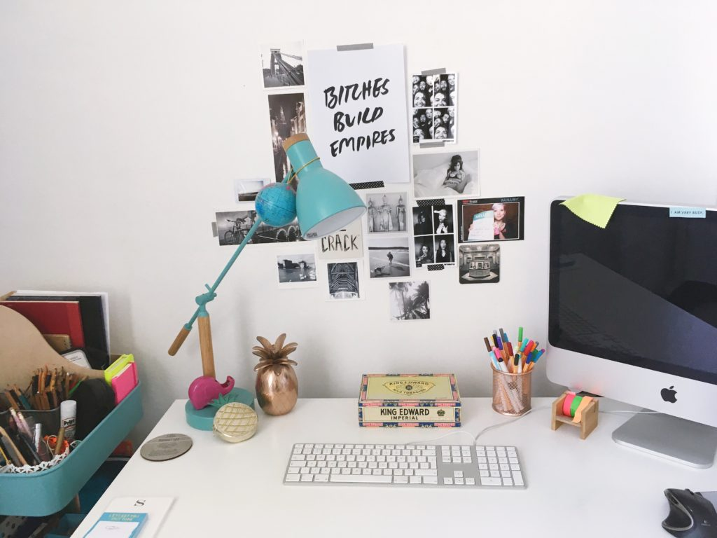 my desk area and inspiration wall-yellow-feather-blog-bedroom-tour