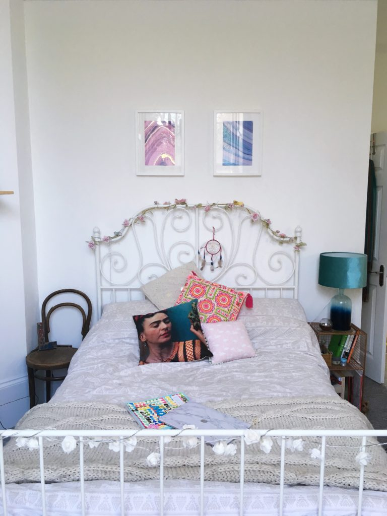 my girly bed-yellow-feather-blog-bedroom-tour