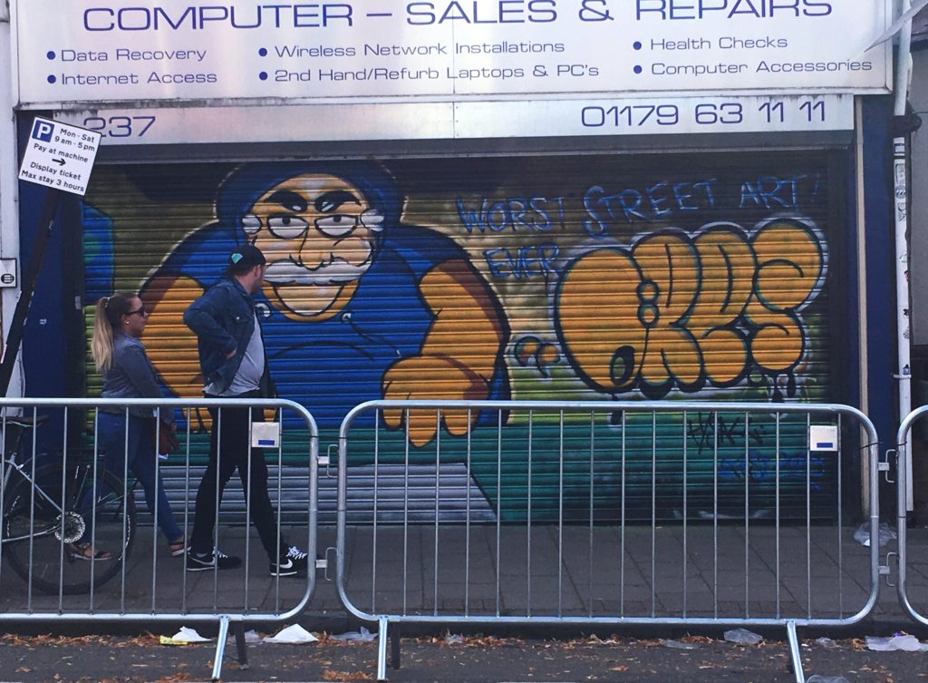 Upfest 2018 yellow feather blog comic book guy simpsons graffiti