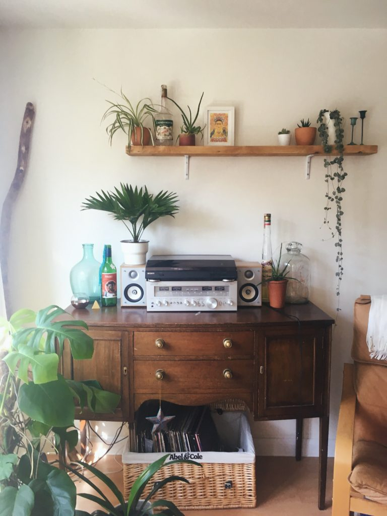 my sideboard music setup yellow feather blog