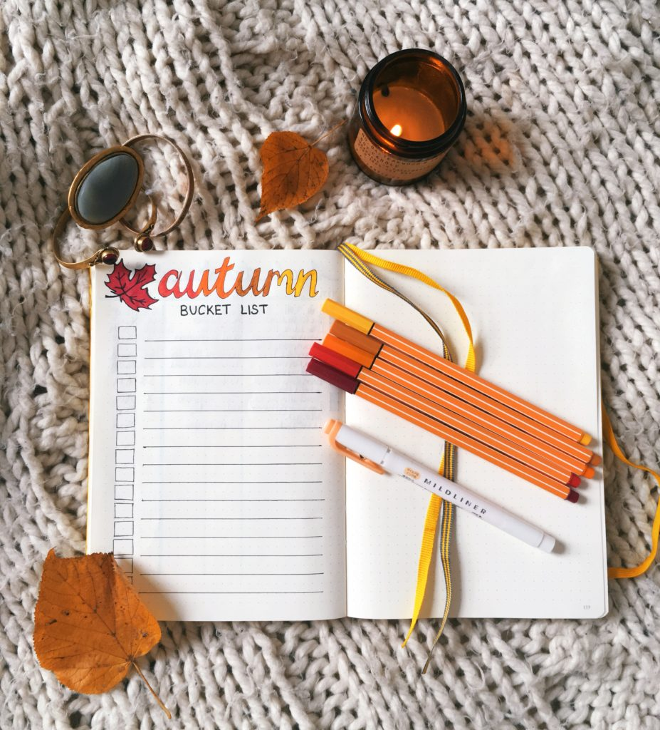 Autumn bucket list bullet journal spread flatlay yellow feather blog 4