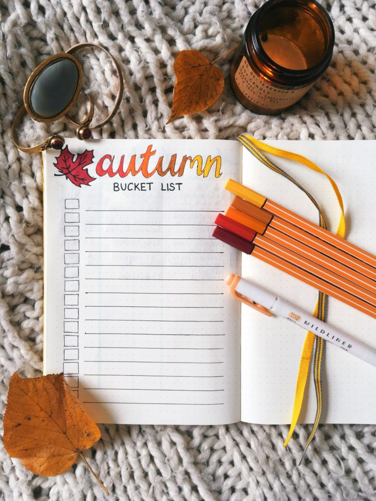 Autumn bucket list bullet journal spread flatlay yellow feather blog 8