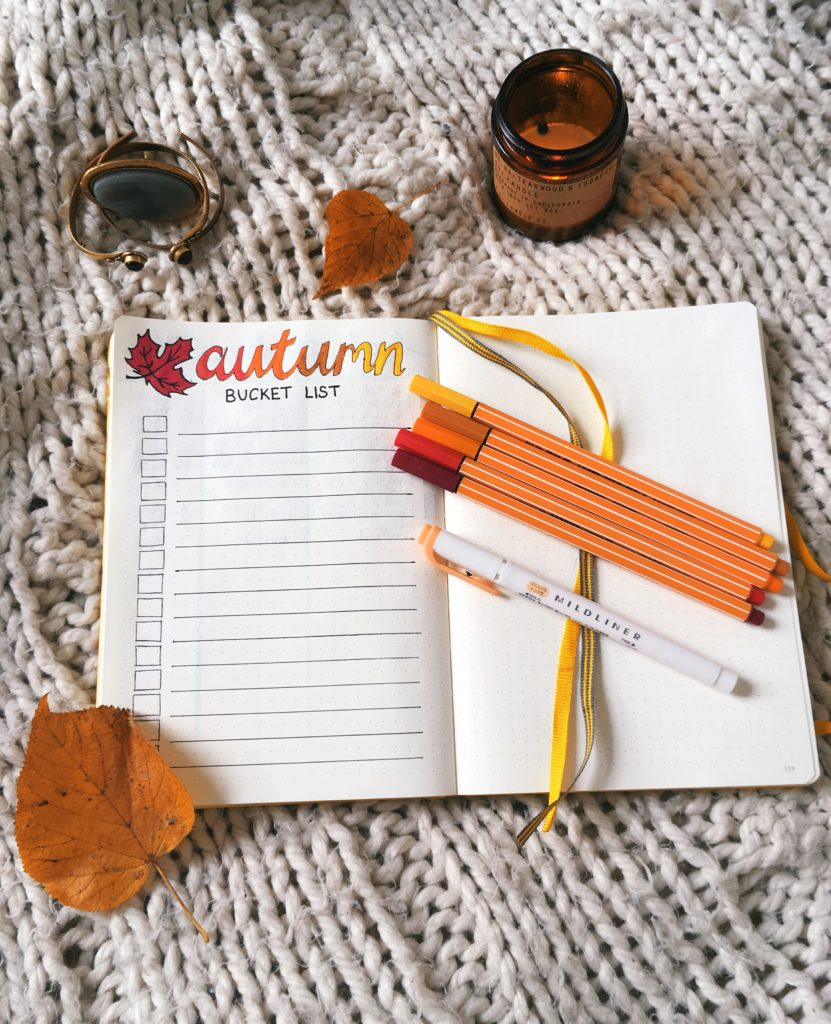 Autumn bucket list bullet journal spread flatlay yellow feather blog 9