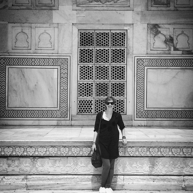 Black and white photo in front of Taj Mahal Agra India Yellow Feather Blog Travel Tuesday Instagrammable locations