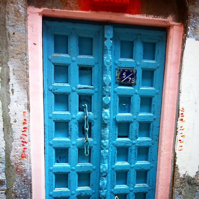 Blue carved wooden door in Varanasi India Yellow Feather Blog Travel Tuesday Instagrammable locations