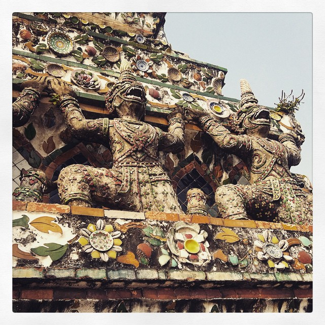 Detail of carvings on Wat Arun in Bangkok Yellow Feather Blog Travel Tuesday Instagrammable Locations