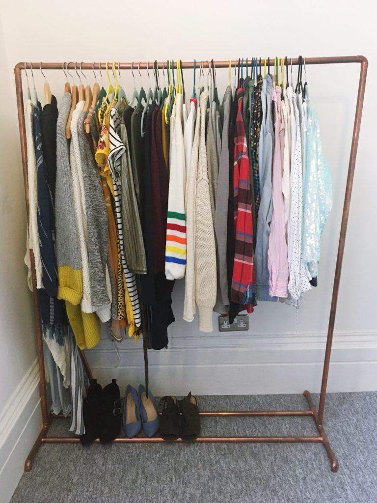 Make your own DIY copper clothes rail yellow feather blog