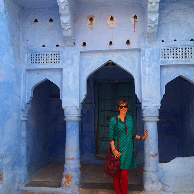 Posing in a blue archway Jodhpur the blue city Rajasthan India Yellow Feather blog travel tuesday instagrammable locations