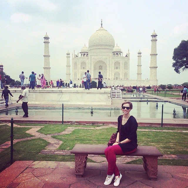 Sitting on a bench outside of Taj Mahal Agra IndiaYellow Feather Blog Travel Tuesday Instagrammable locations