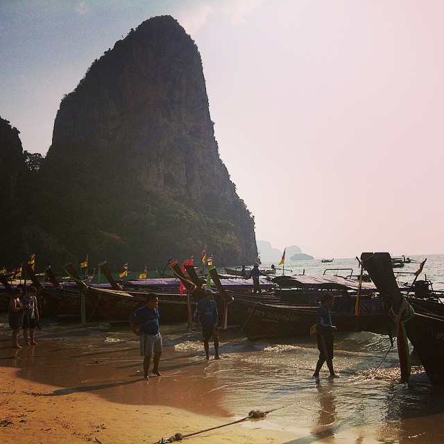 Thai fishing boats on Railay Beach Yellow Feather Blog Travel Tuesday Instagrammable locations