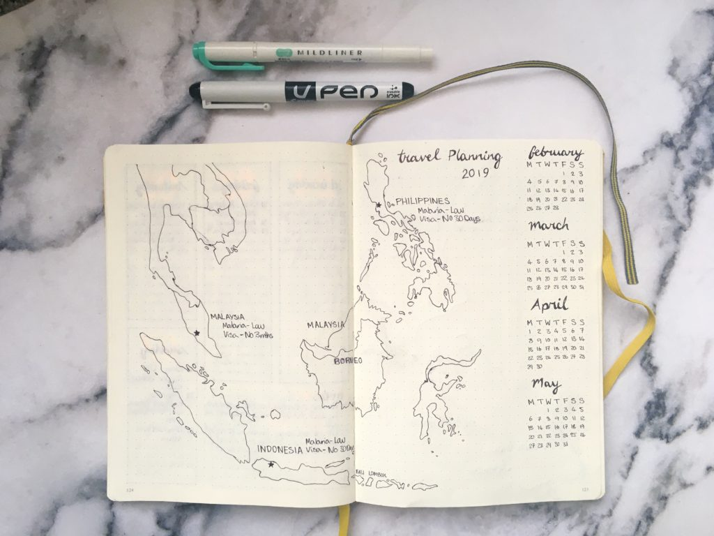 bullet journal map spread yellow feather blog