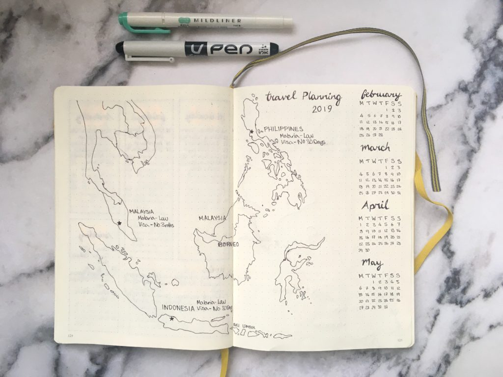 bullet journal travel map spread yellow feather blog