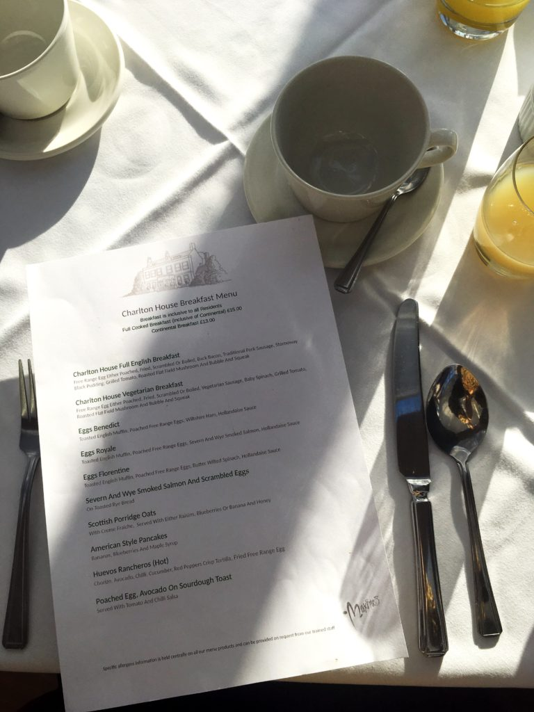 Breakfast menu yellow feather blog charlton house hotel spa