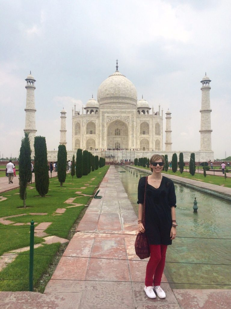 in front of the taj mahal travel tuesday taj mahal yellow feather blog