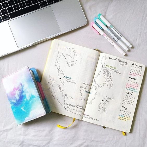 Travel planning passport and bullet journal flatlay yellow feather blog