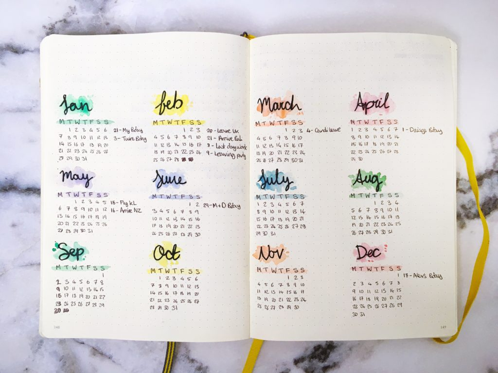 2019 Bullet Journal set up yearly calendar spread