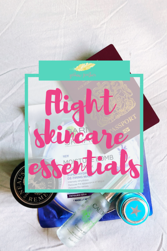 Flight skincare essentials yellow feather blog