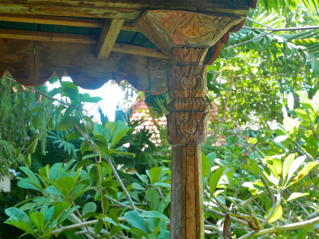 terrace wooden carved detail Rumah Mandau village house desa seni