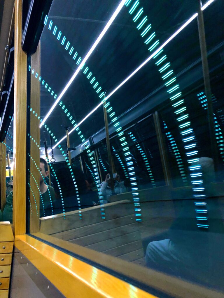 blue lights in cable car tunnel going to wellington botanic gardens