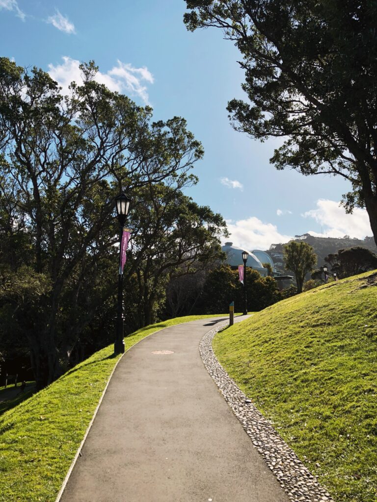 old fashioned streetlamps on path to space place observatory in wellington botanic gardens
