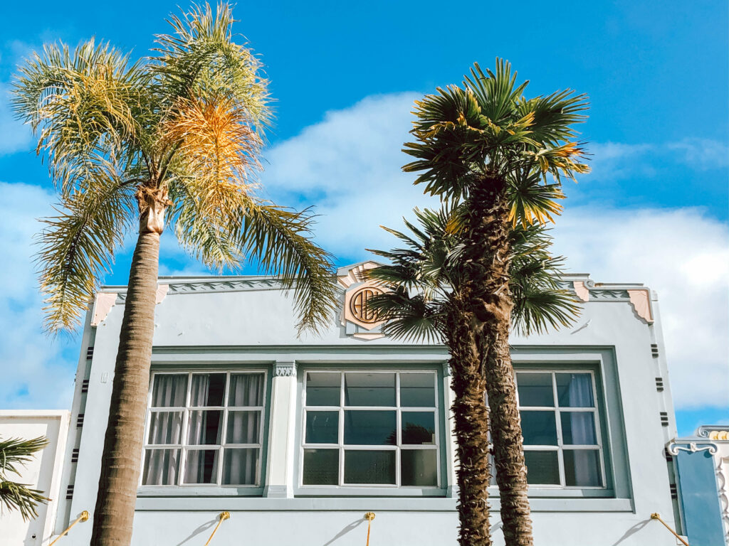 palm trees in front of blue art deco building napier new zealand